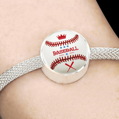 BaseBall 3D Circle Charm Surgical Steel Bracelet - lottierocks
