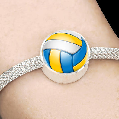 VolleyBall 3D Circle Charm Surgical Steel Bracelet - lottierocks