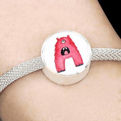 lottierocks:A - Monster HandPainted Letter Circle Charm Surgical Steel Bracelet
