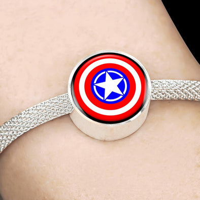 Jeep Star Shield Circle Charm Surgical Steel Bracelet