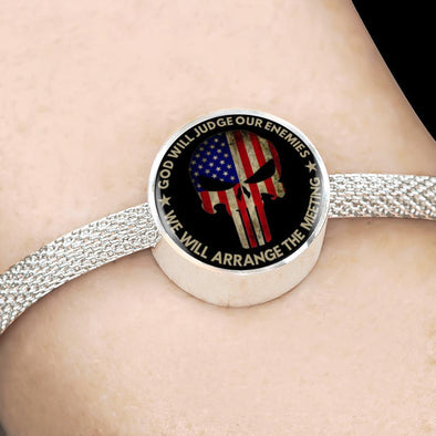 Punisher God Will Judge Our Enemies We Will Arrange The Meeting Circle Charm Surgical Steel Bracelet