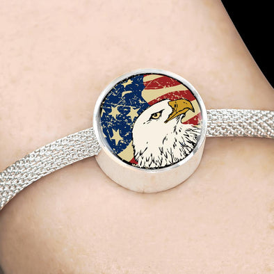 lottierocks:American Eagle USA Flag Circle Charm Surgical Steel Bracelet