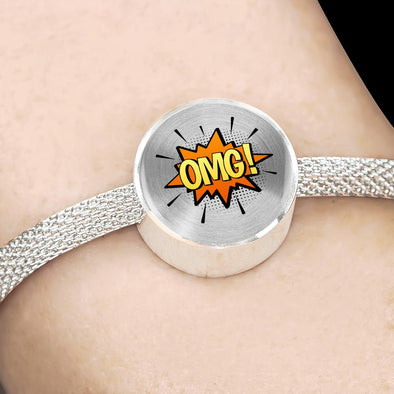 Comic Explosion OMG! Speech Bubble Circle Charm Surgical Steel Bracelet