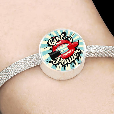 Girl Power Circle Charm Surgical Steel Bracelet