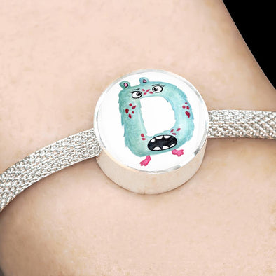 lottierocks:D - Monster HandPainted Letter Circle Charm Surgical Steel Bracelet