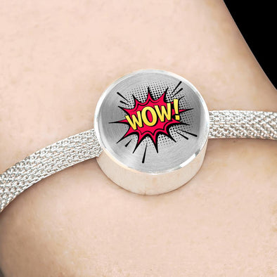 Comic Explosion WOW! Speech Bubble Circle Charm Surgical Steel Bracelet