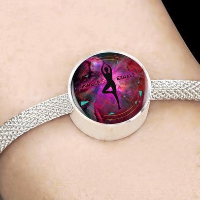 InHale Exhale Yoga Circle Charm Surgical Steel Bracelet - lottierocks