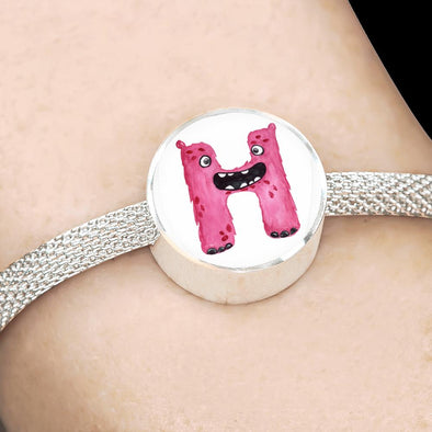 H - Monster HandPainted Letter Circle Charm Surgical Steel Bracelet - lottierocks