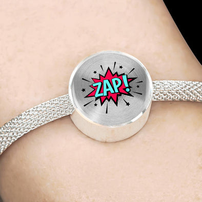 Comic Explosion ZAP! Speech Bubble Circle Charm Surgical Steel Bracelet