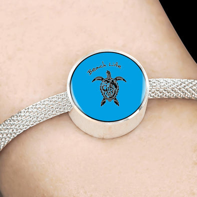 Beach Life Turtle Circle Charm Surgical Steel Bracelet - lottierocks