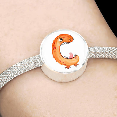lottierocks:C - Monster HandPainted Letter Circle Charm Surgical Steel Bracelet