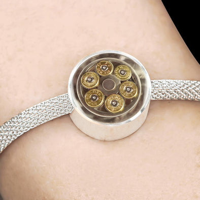 lottierocks:44 Mag Cylinder With Bullets Circle Charm Surgical Steel Bracelet
