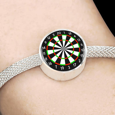 Dartboard Circle Charm Surgical Steel Bracelet - lottierocks