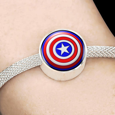 Captain America Circle Charm Surgical Steel Bracelet
