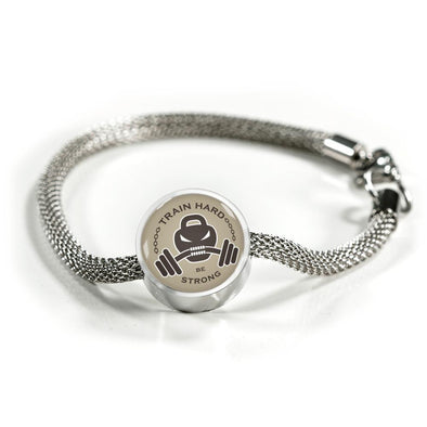 Train Hard Be Strong Circle Charm Surgical Steel Bracelet - lottierocks