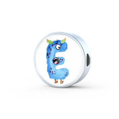 lottierocks:E - Monster HandPainted Letter Circle Charm