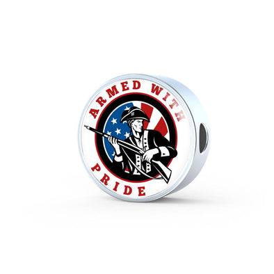 Patriot Armed With Pride Circle Charm
