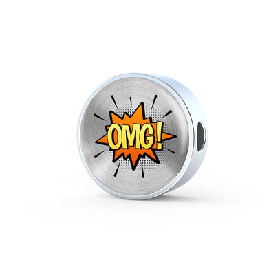 Comic Explosion OMG! Speech Bubble Circle Charm
