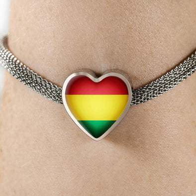 lottierocks:Bolivia Flag Heart Charm Surgical Steel Bracelet