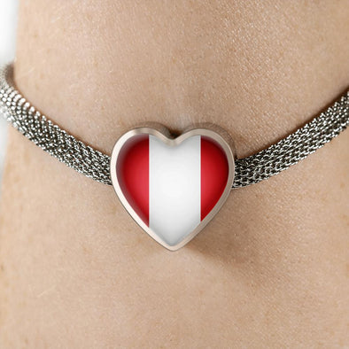 Peru Flag Heart Charm Surgical Steel Bracelet - lottierocks