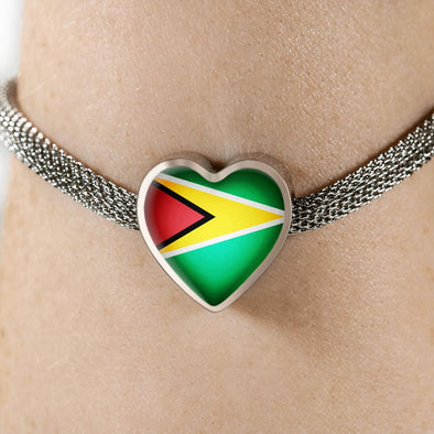 Guyana Flag Heart Charm Surgical Steel Bracelet - lottierocks