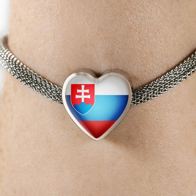 Slovakia Flag Heart Charm Surgical Steel Bracelet - lottierocks
