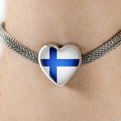 Finland Flag Heart Charm Surgical Steel Bracelet - lottierocks
