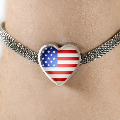 USA Flag Heart Charm Surgical Steel Bracelet - lottierocks