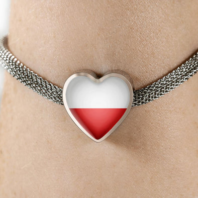 Poland Flag Heart Charm Surgical Steel Bracelet - lottierocks
