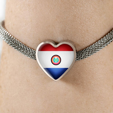 Paraguay Flag Heart Charm Surgical Steel Bracelet - lottierocks