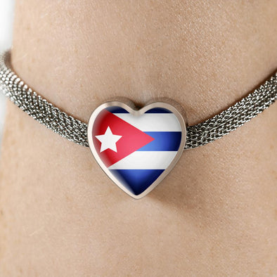 lottierocks:Cuba Flag Heart Charm Surgical Steel Bracelet