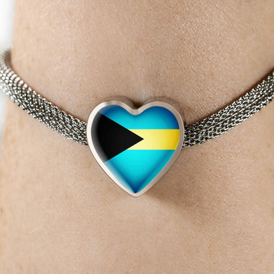 lottierocks:Bahamas Flag Heart Charm Surgical Steel Bracelet
