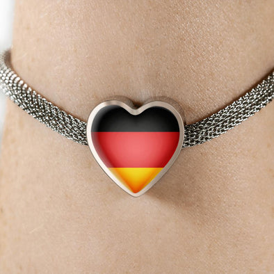 Germany Flag Heart Charm Surgical Steel Bracelet - lottierocks