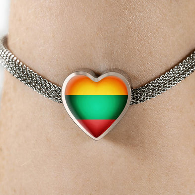 Lithuania Flag Heart Charm Surgical Steel Bracelet - lottierocks