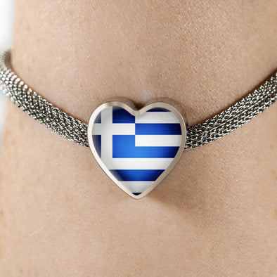 Greece Flag Heart Charm Surgical Steel Bracelet - lottierocks