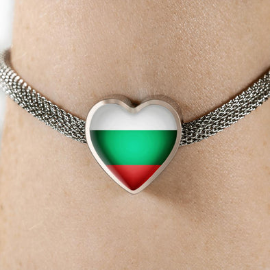 lottierocks:Bulgaria Flag Heart Charm Surgical Steel Bracelet