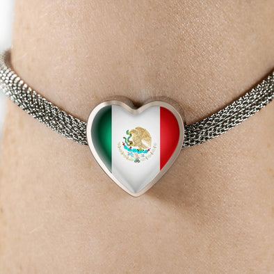 Mexico Flag Heart Charm Surgical Steel Bracelet - lottierocks