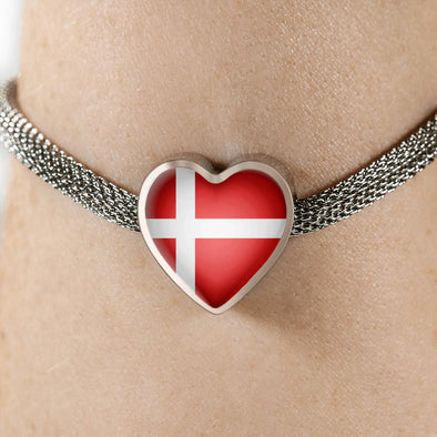 lottierocks:Denmark Flag Heart Charm Surgical Steel Bracelet