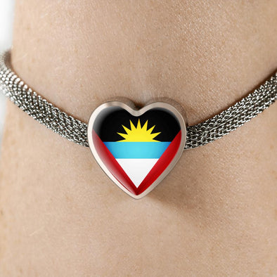 lottierocks:Antigua Barbuda Flag Heart Charm Surgical Steel Bracelet