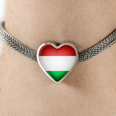 Hungary Flag Heart Charm Surgical Steel Bracelet - lottierocks