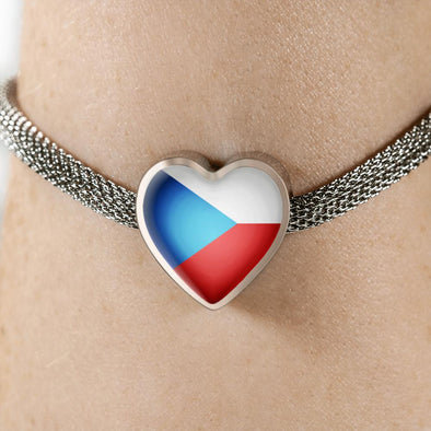 lottierocks:Czech Republic Flag Heart Charm Surgical Steel Bracelet