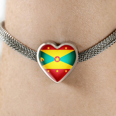 Grenada Flag Heart Charm Surgical Steel Bracelet - lottierocks