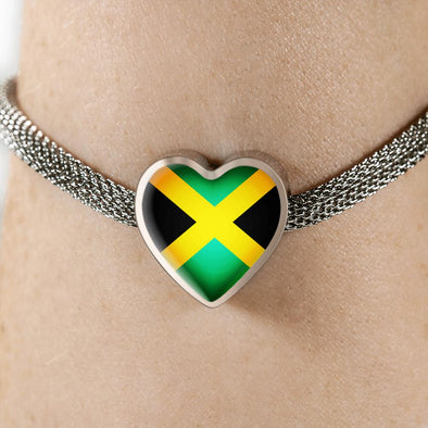 Jamaica Flag Heart Charm Surgical Steel Bracelet - lottierocks