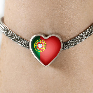 Portugal Flag Heart Charm Surgical Steel Bracelet - lottierocks