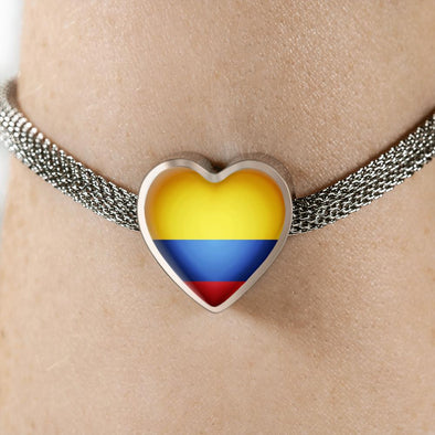 Ecuador Flag Heart Charm Surgical Steel Bracelet - lottierocks