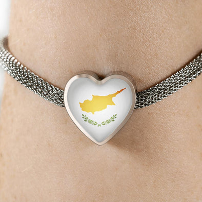 lottierocks:Cyprus Flag Heart Charm Surgical Steel Bracelet