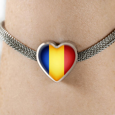 Romania Flag Heart Charm Surgical Steel Bracelet - lottierocks