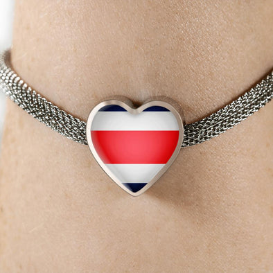 lottierocks:Costa Rica Flag Heart Charm Surgical Steel Bracelet