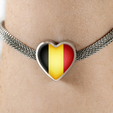 lottierocks:Belgium Flag Heart Charm Surgical Steel Bracelet