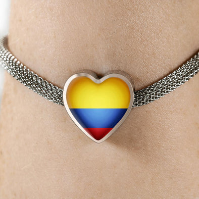 lottierocks:Colombia Flag Heart Charm Surgical Steel Bracelet